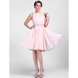 Australia Cocktail Party Dresses Wedding Party Dress Pearl Pink Plus Sizes Dresses Petite A-line Princess Jewel Short Knee-length Chiffon