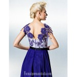 Dress Royal Blue Plus Sizes Dresses Petite A-line Jewel Long Floor-length Chiffon Lace Formal Dress Australia