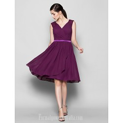 Short Knee Length Chiffon Bridesmaid Dress Grape Plus Sizes Dresses Petite A Line V Neck