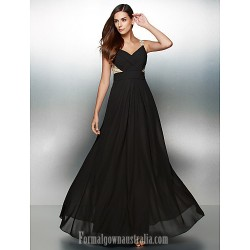 Australia Formal Dress Evening Gowns Black A-line V-neck Long Floor-length Chiffon