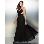Australia Formal Dress Evening Gowns Black A-line V-neck Long Floor-length Chiffon Formal Dress Australia