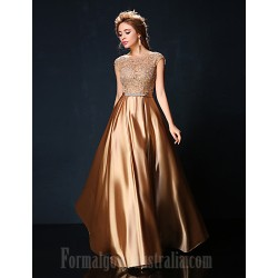 Australia Formal Dress Evening Gowns Ruby Burgundy Gold Petite A-line Jewel Long Floor-length Lace Dress Charmeuse
