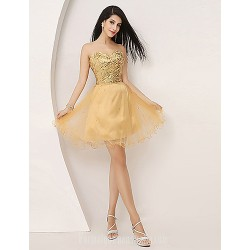 Australia Formal Dresses Cocktail Dress Party Dress Gold Plus Sizes Dresses Petite A Line Sweetheart Short Knee Length