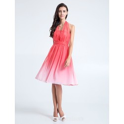 Short Knee Length Chiffon Bridesmaid Dress Watermelon Plus Sizes Dresses Petite A Line Halter