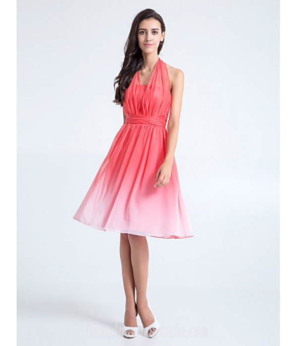 Short Knee-length Chiffon Bridesmaid Dress Watermelon Plus Sizes Dresses Petite A-line Halter Formal Dress Australia