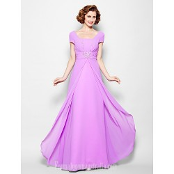A-line Plus Sizes Dresses Petite Mother of the Bride Dress Lilac Long Floor-length Short Sleeve Georgette