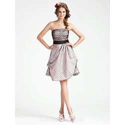 Australia Formal Dresses Cocktail Dress Party Dress Wedding Party Dress Multi-color Plus Sizes Dresses Petite A-line Princess Strapless Short Knee-length Satin Tulle