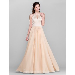 Long Floor-length Chiffon Satin Bridesmaid Dress Champagne Plus Sizes Dresses Petite A-line Jewel