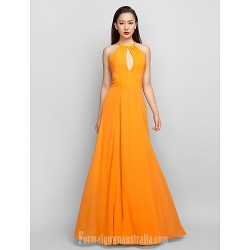 Australia Formal Evening Dress Prom Gowns Military Ball Dress Orange Plus Sizes Dresses Petite A-line Halter Long Floor-length Chiffon