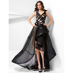 A Line V Neck Asymmetrical Tulle And Satin Evening Dress