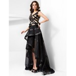 A-line V-neck Asymmetrical Tulle And Satin Evening Dress Formal Dress Australia
