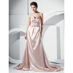 A-line Strapless Court Train Charmeuse Evening Dress