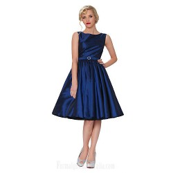 Australia Formal Dresses Cocktail Dress Party Dress Daffodil Burgundy Light Sky Blue Clover Purple Ink Blue Plus Sizes Dresses A-line Bateau Short Knee-length Taffeta