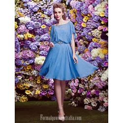 Homecoming Australia Formal Dresses Cocktail Dress Party Dress Ocean Blue A Line Scalloped Short Knee Length Chiffon