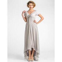 A Line Plus Sizes Dresses Petite Mother Of The Bride Dress Silver Asymmetrical Short Sleeve Lace Chiffon