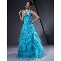 A Line Halter Long Floor Length Satin Organza Prom Dress