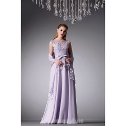 Australia Formal Dress Evening Gowns Lavender A-line Jewel Long Floor-length Chiffon Satin