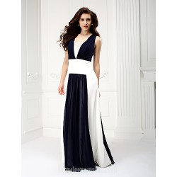 Australia Formal Dress Evening Gowns Dark Navy A-line Square Long Floor-length Chiffon
