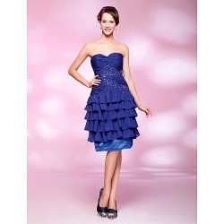 A-line Sweetheart Short Knee-length Sequined  Chiffon Australia Cocktail Dress
