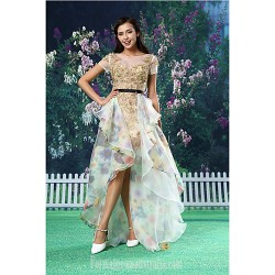 A-line Australia Formal Dress Evening Gowns Gold Asymmetrical Jewel Lace Organza