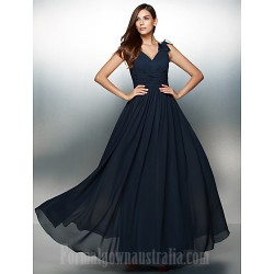 Australia Formal Dress Evening Gowns Dark Navy A-line V-neck Long Floor-length Chiffon