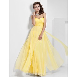 Australia Formal Dress Evening Gowns Prom Gowns Military Ball Dress Daffodil Plus Sizes Dresses Petite A-line Princess Sweetheart Strapless Long Floor-length Chiffon