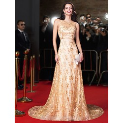 Australia Formal Dress Evening Dress Gold A Line Jewel Chapel Train Lace
