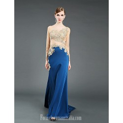 Australia Formal Dress Evening Gowns Pool Ball Gown Jewel Chapel Train Tulle Stretch Satin Knitwear