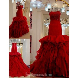 Australia Formal Dress Evening Gowns Burgundy Fit Flare Strapless Court Train Tulle