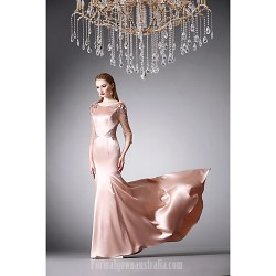 Australia Formal Dress Evening Gowns Blushing Pink A Line Jewel Long Floor Length Satin