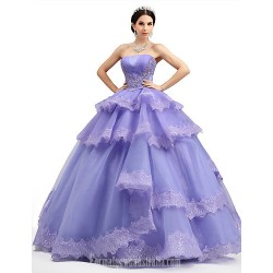 Australia Formal Dress Evening Gowns Lilac Petite Ball Gown Strapless Long Floor-length Lace Dress Organza Tulle Charmeuse