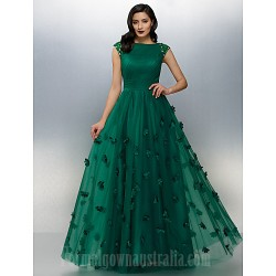 Australia Formal Dress Evening Gowns Dark Green Plus Sizes Dresses Petite A-line Bateau Long Floor-length Tulle Dress