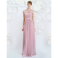 Australia Formal Dress Evening Gowns Lavender A-line Jewel Long Floor-length Chiffon