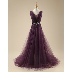 Australia Formal Dress Evening Gowns A-line V-neck Court Train Organza Dress