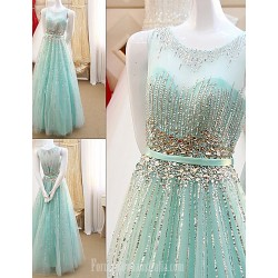 Australia Formal Evening Dress Sky Blue A-line Scoop Long Floor-length Tulle Dress