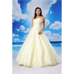 Ball Gown Australia Formal Dress Evening Gowns Daffodil Long Floor-length Scalloped-Edge Organza Satin