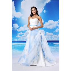 A-line Australia Formal Dress Evening Gowns White Court Train Sweetheart Lace Organza Satin