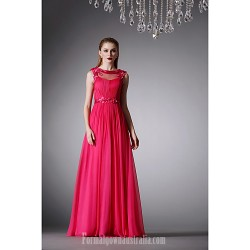Australia Formal Dress Evening Gowns Ruby A-line Jewel Long Floor-length Chiffon