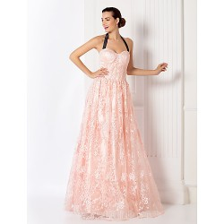 Australia Formal Evening Dress Prom Gowns Military Ball Dress Pearl Pink Plus Sizes Dresses Petite A-line Halter Long Floor-length Lace Dress