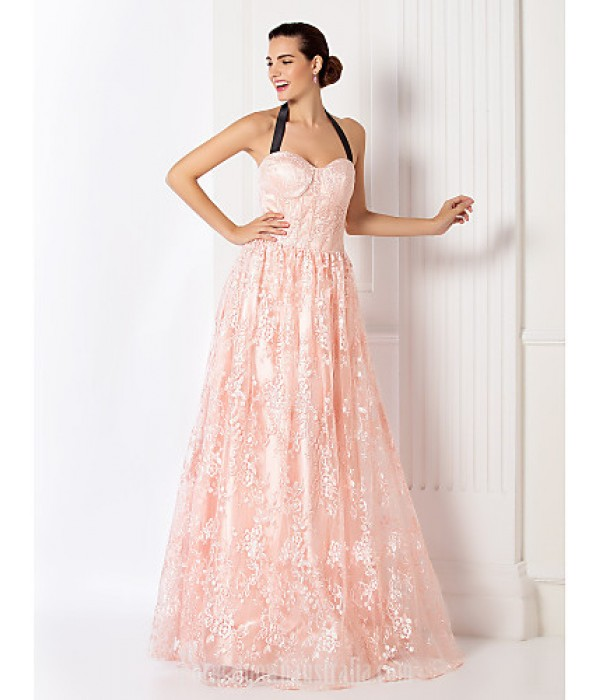 Australia Formal Dress Evening Gowns Prom Gowns Military Ball Dress Pearl Pink Plus Sizes Dresses Petite A-line Halter Long Floor-length Lace Dress Formal Dress Australia