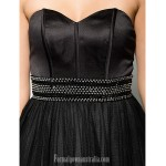 Australia Formal Dress Evening Gowns Black A-line Sweetheart Long Floor-length Organza Satin Formal Dress Australia