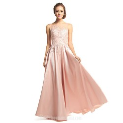 Australia Formal Evening Dress Pearl Pink A-line Scoop Long Floor-length Taffeta Tulle