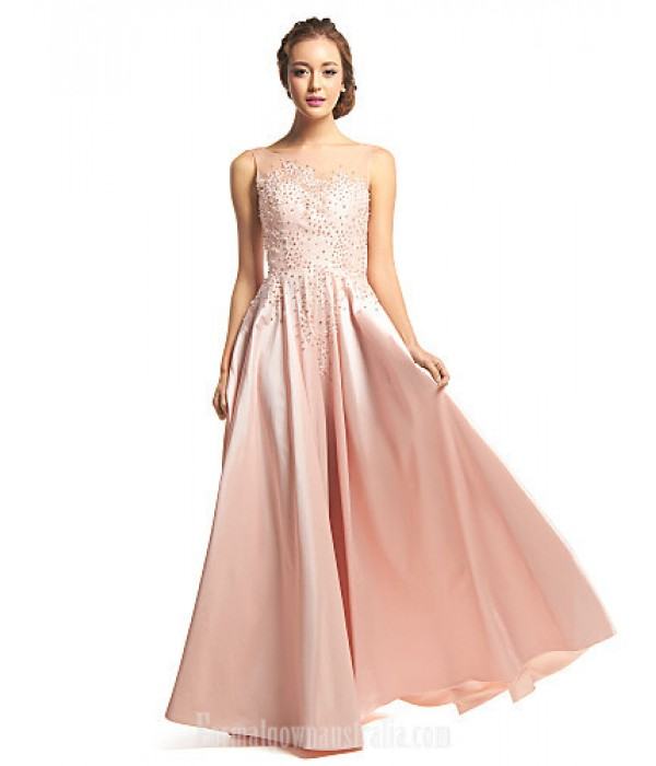 Australia Formal Dress Evening Gowns Pearl Pink A-line Scoop Long Floor-length Taffeta Tulle Formal Dress Australia
