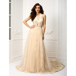 Prom Gowns Australia Formal Dress Evening Gowns Champagne Plus Sizes Dresses Petite A-line Princess V-neck Chapel Train Lace Tulle