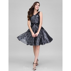 Australia Formal Dresses Cocktail Dress Party Dress Black A Line V Neck Short Knee Length Organza