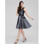 Australia Formal Dresses Cocktail Dress Party Dress Black A-line V-neck Short Knee-length Organza Formal Dress Australia