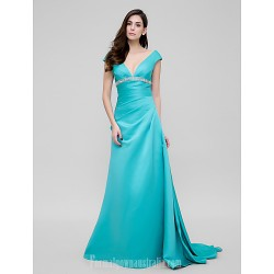 Australia Formal Dress Evening Gowns Jade A-line V-neck Court Train Satin