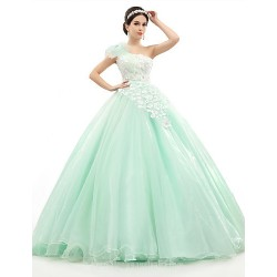 Australia Formal Dress Evening Gowns Sage Petite Ball Gown Sexy One Shoulder Long Floor Length Organza Tulle Charmeuse