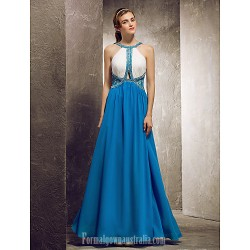 Long Floor-length Chiffon Bridesmaid Dress Ocean Blue Apple Hourglass Inverted Triangle Pear Rectangle Plus Sizes Dresses Petite Misses