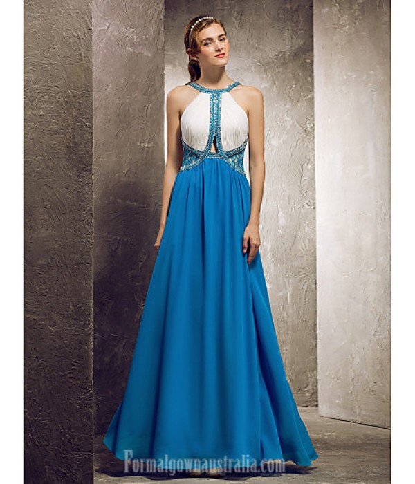 Long Floor-length Chiffon Bridesmaid Dress Ocean Blue Apple Hourglass Inverted Triangle Pear Rectangle Plus Sizes Dresses Petite Misses Formal Dress Australia